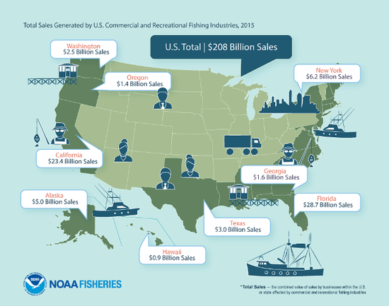 Graphic generated by NOAA fisheries indicating total sales of US Commerical and Recreational Fishing Industries (2015)