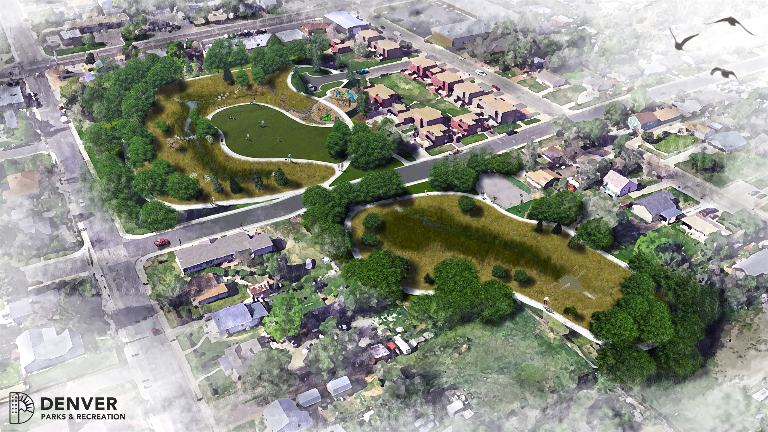 aerial rendering of park in neighborhood