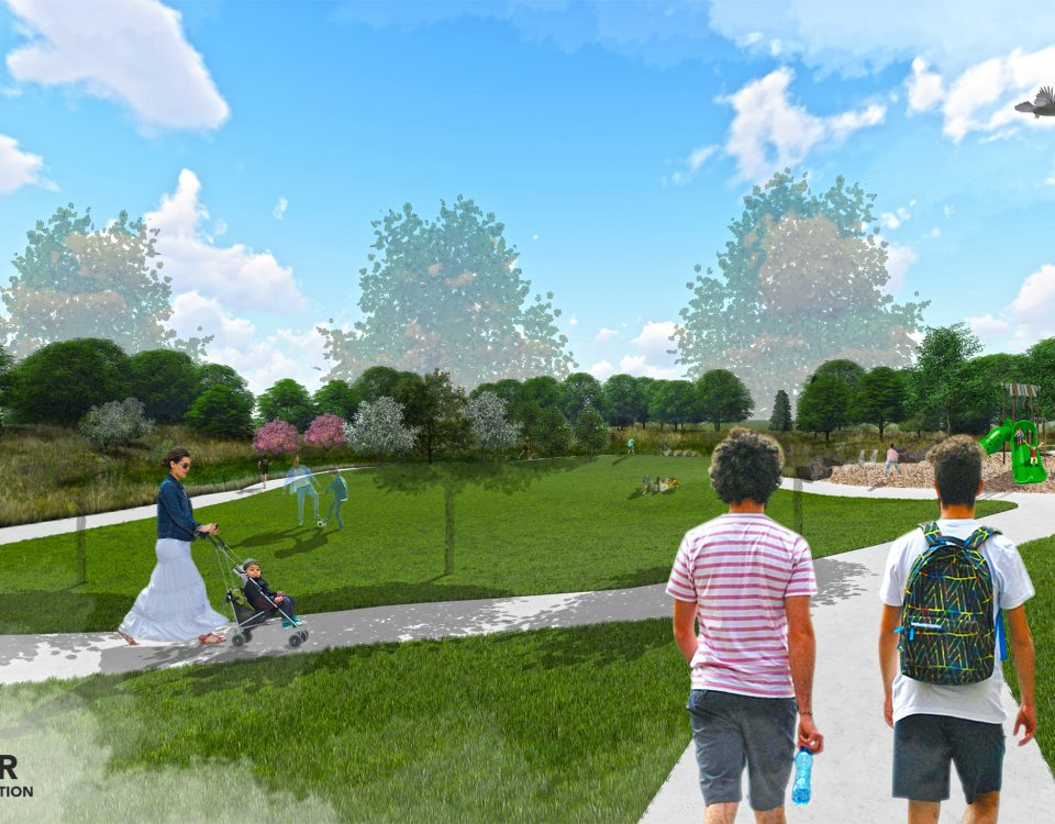 Rendering of La Lomita Park, which shows people using the walkways, playing in a grassy detention basin, and on a playground