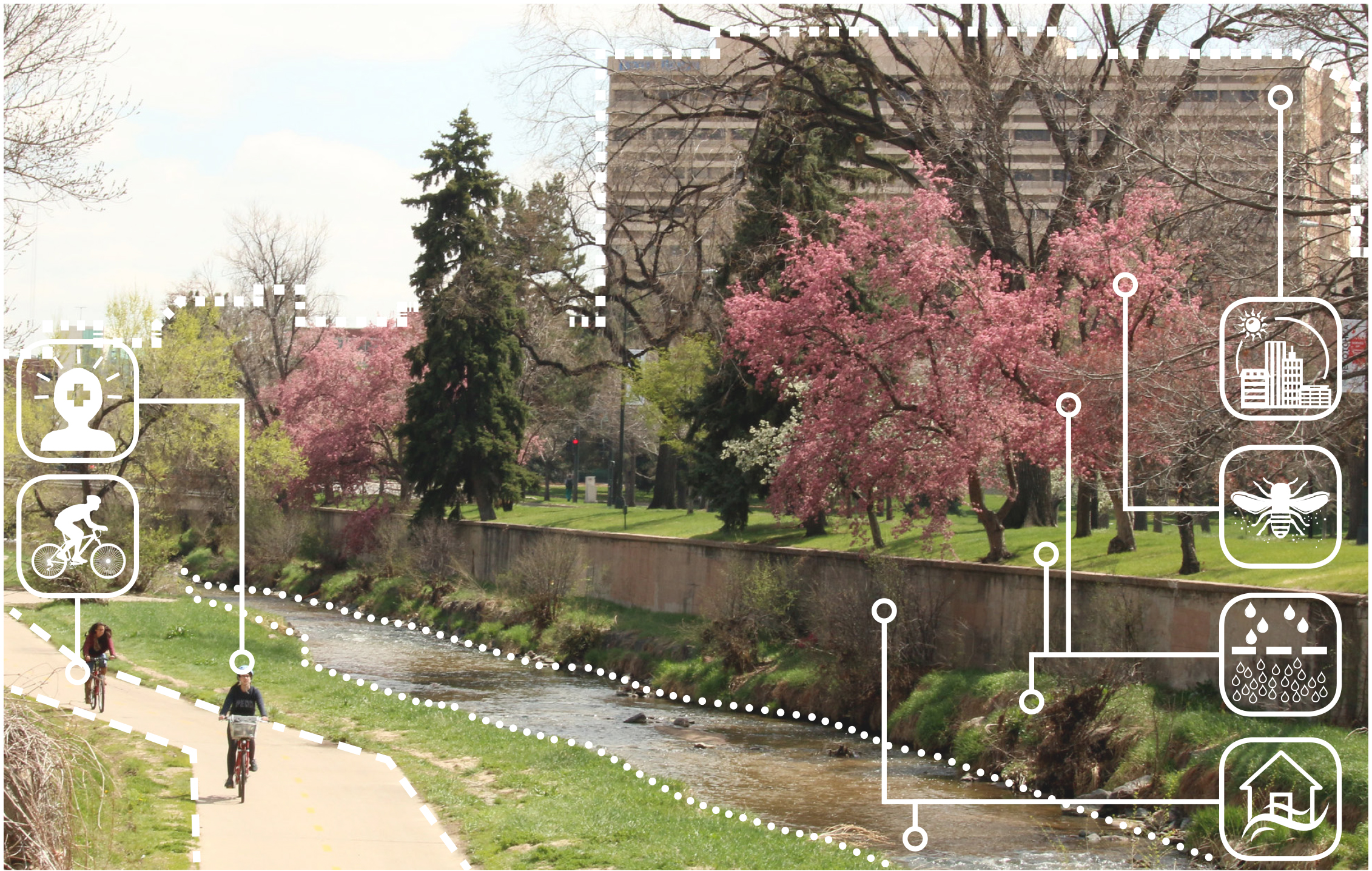 Urban ecosystem services, with a creek, pink blooming trees, and people biking on a bike path. White icons are placed over the image to indicate ecosystem services.