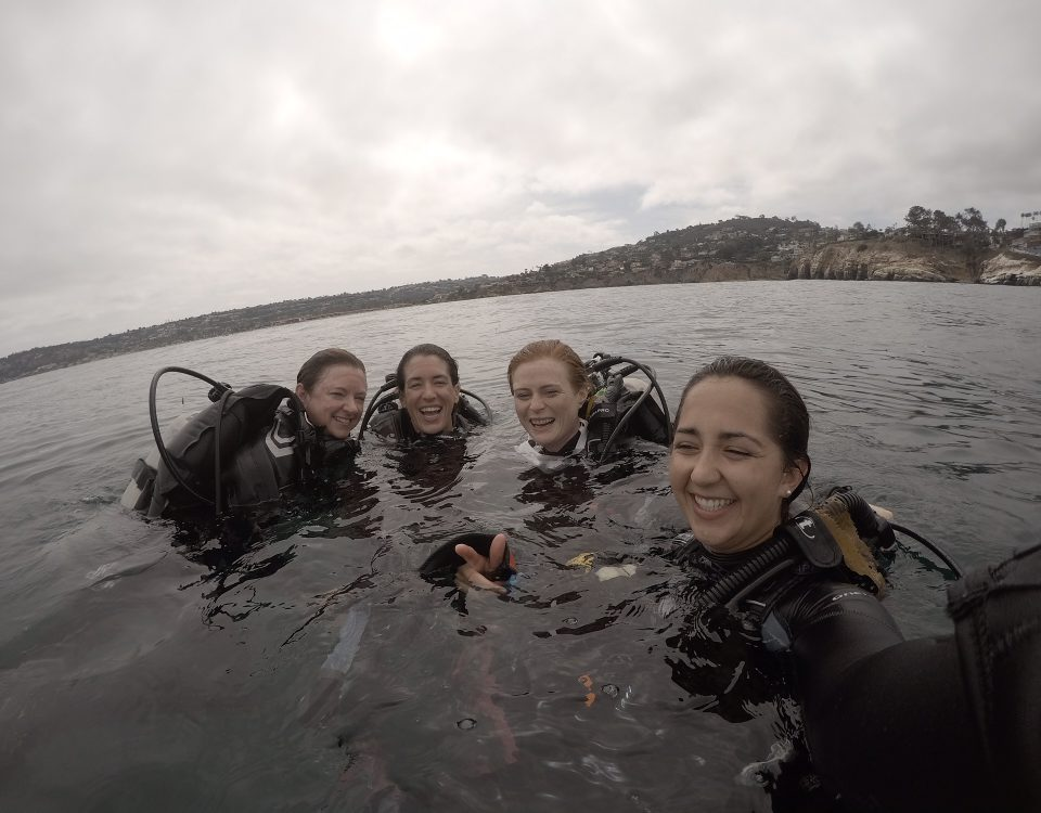 Four women in scuba gear, at the surface of the water smiling and laughing
