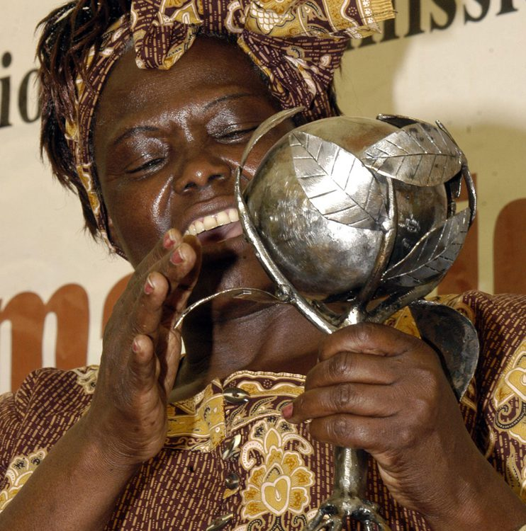 Image of a black, African woman in traditional dress, holding a silver-colored trophy shaped likes leaves wrapping around a seed