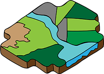 graphic of puzzle piece with different land types and a river