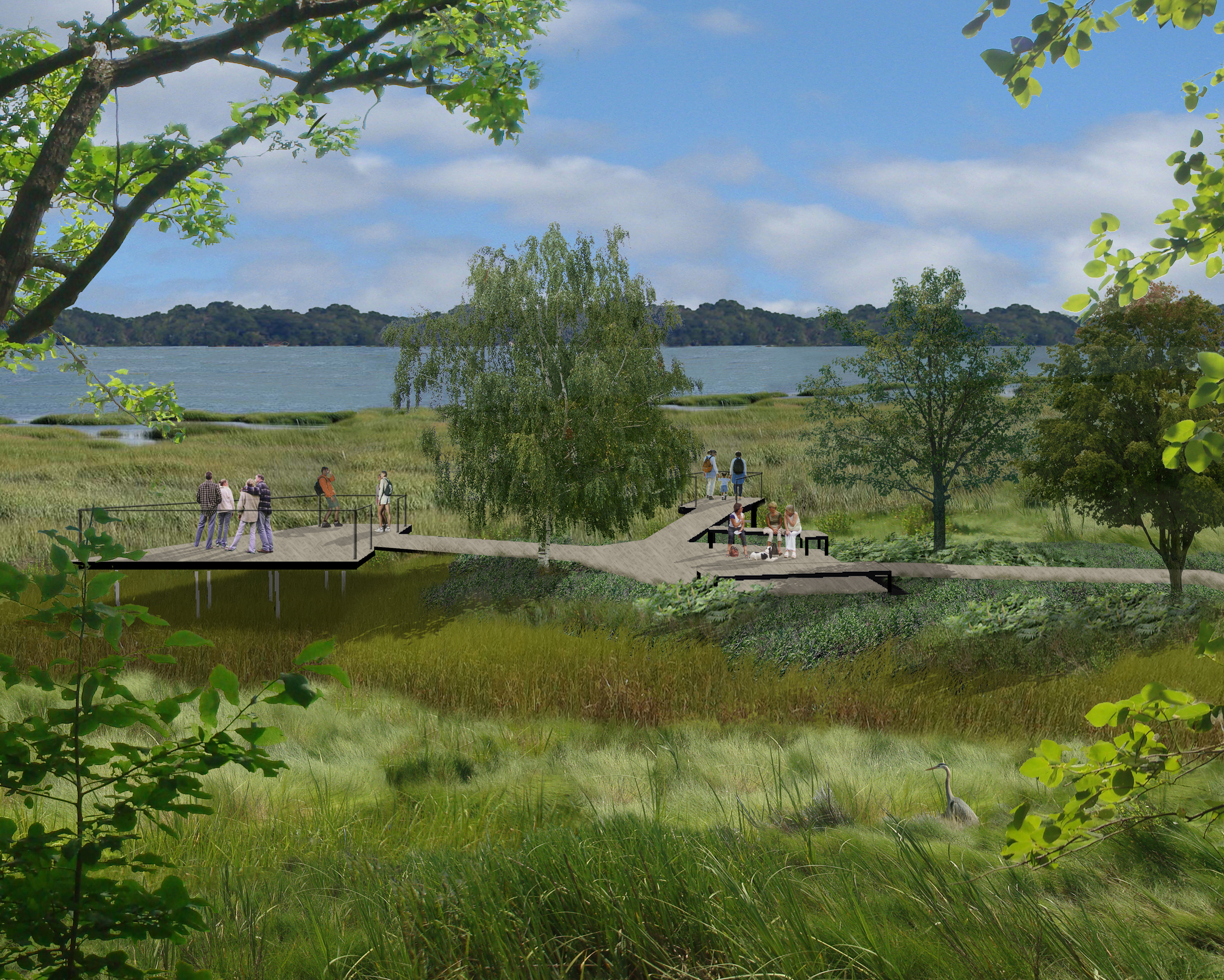 rendering showing a wooden platform over a wetland with people enjoying the view