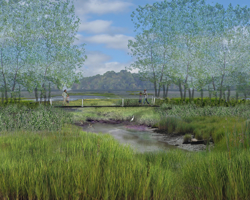 rendering showing a wood bridge over a creek in a wetland