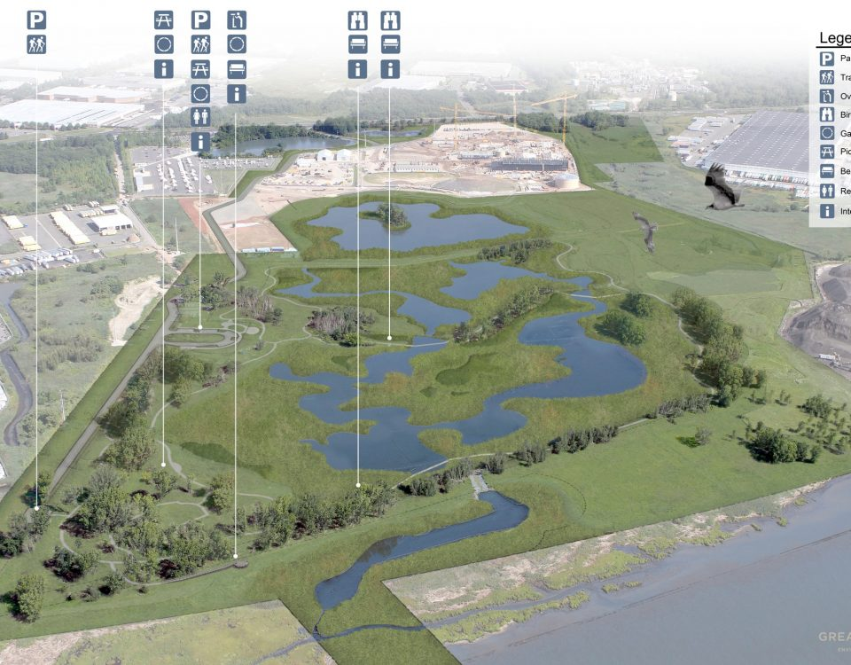 aerial rendering showing a wetland with lakes and a park