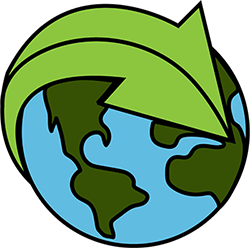 graphic of the world and a green arrow