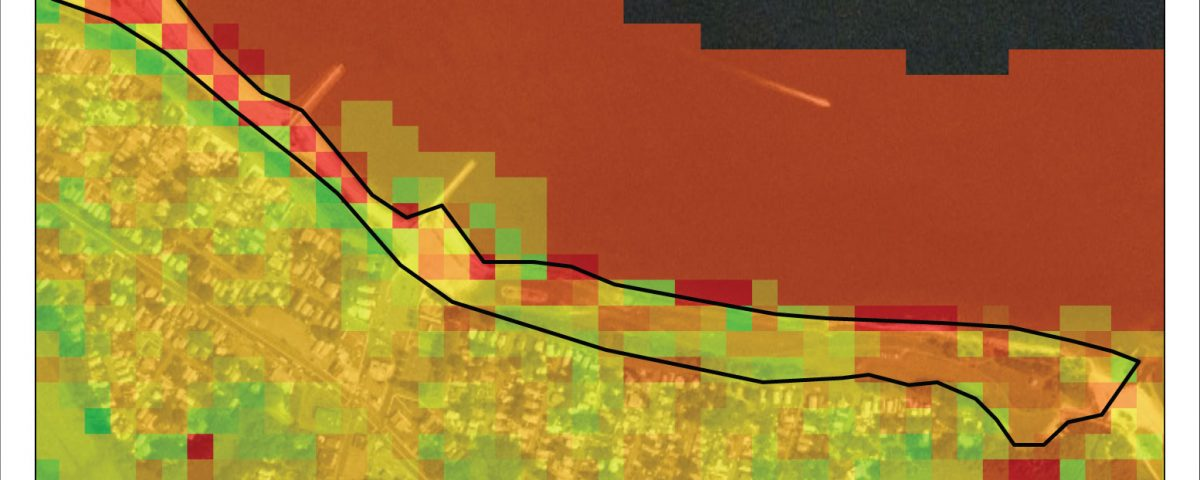 rendering showing estuary vulnerability in green, yellow, orange, red