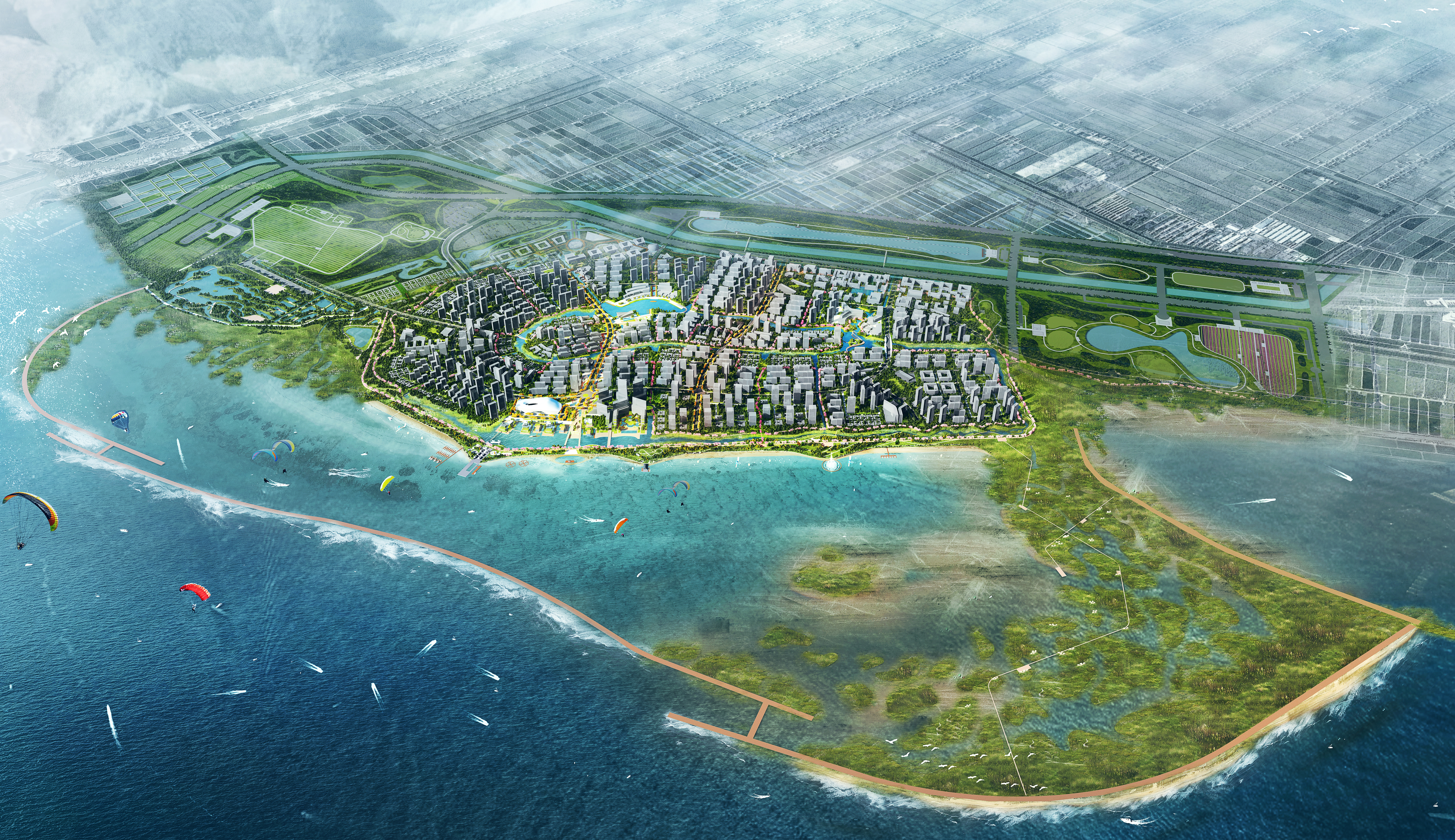 aerial rendering of futuristic city on the water with buidlings, wetlands, and roads