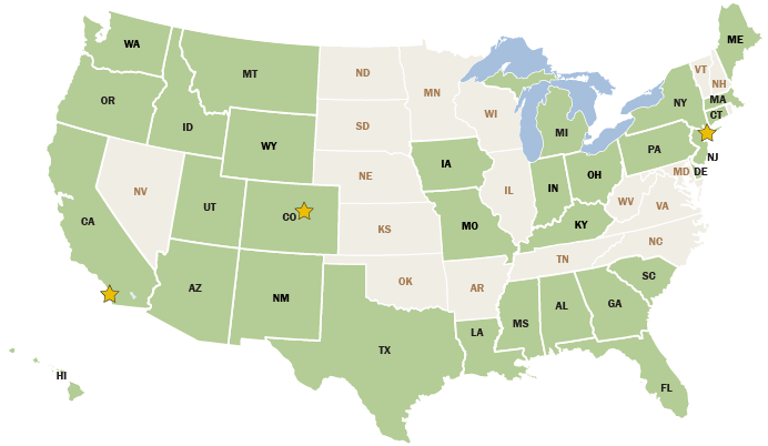 A map depicting where Great Ecology has performed work in the United States.