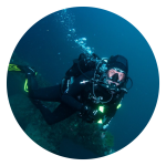woman in scuba gear under water